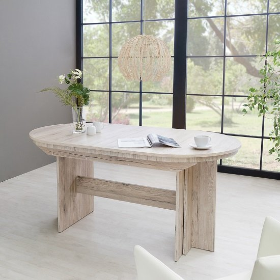 Roman Extendable Wooden Dining Table Oval In Sorrento Oak