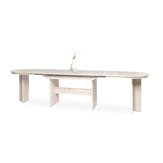 Roman Extendable Wooden Dining Table Oval In Sorrento Oak_2