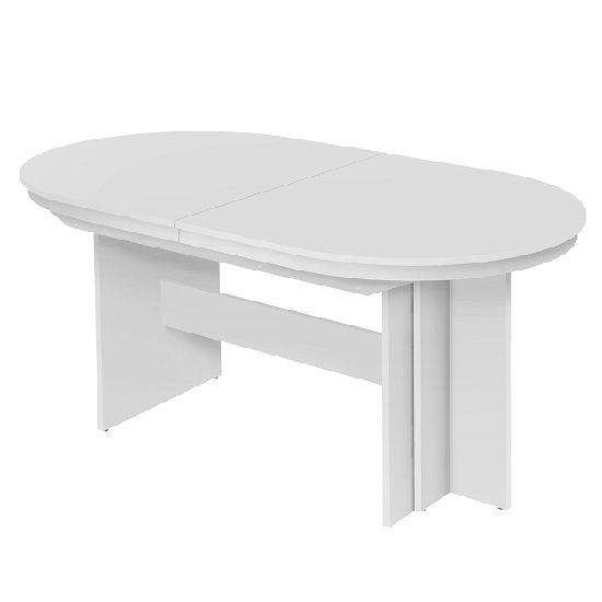 Roman Extendable Wooden Dining Table Oval In White_1