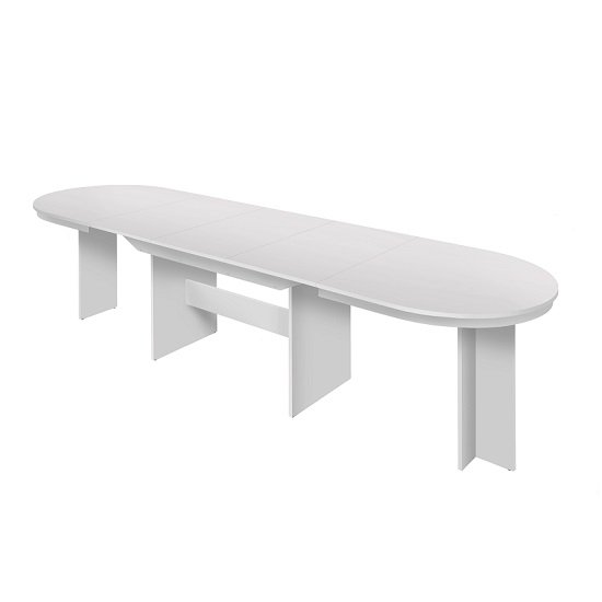 Roman Extendable Wooden Dining Table Oval In White_2