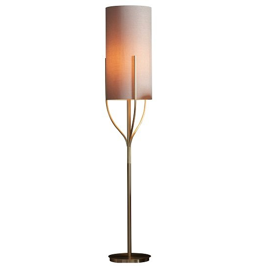 Romana Cylindrical Shade Floor Lamp In Gold Finish