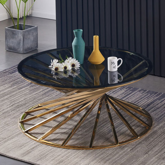 Romani Black Glass Coffee Table With Gold Steel Base