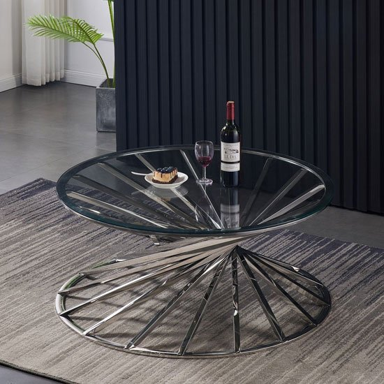 Romani Clear Glass Coffee Table With Silver Steel Base