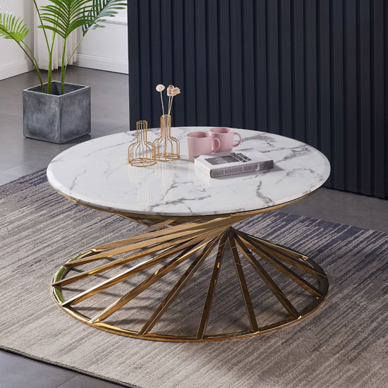 View Romani white grey marble coffee table with gold steel base