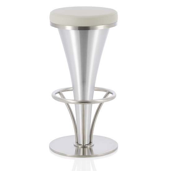 Romania Bar Stool In Grey Faux Leather With Stainless Steel Base