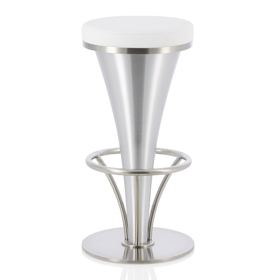 Romania Bar Stool In White Faux Leather And Stainless Steel Base
