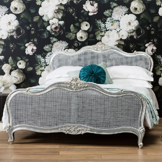Romania Mahogany King Size Bed In Silver Leaf