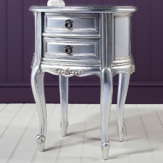 Romania Mahogany Bedside Cabinet In Silver Leaf With 2 Drawers