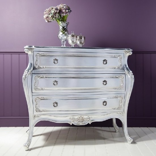Romania Mahogany Chest of Drawers In Silver Leaf With 3 Drawers
