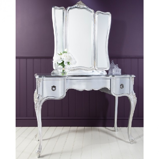 Read more about Romania mahogany dressing table with mirror in silver leaf