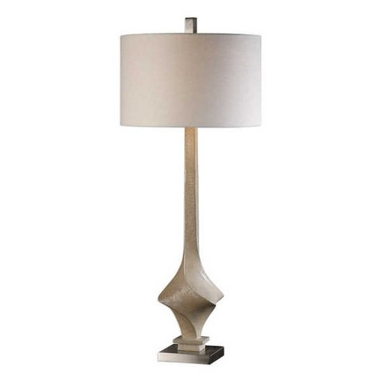 Romania Contemporary Table Lamp In Beige Linen Fabric