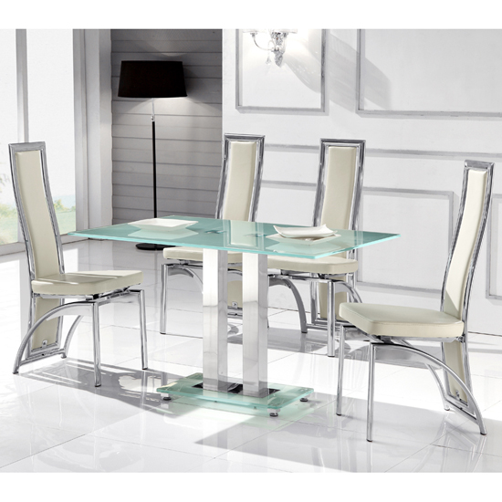 Read more about Romano ii large frosted dining table and 6 chicago white chairs
