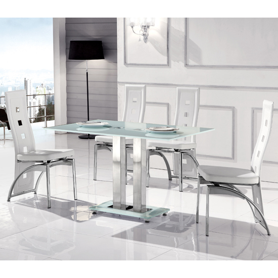 Romano Small Frosted Dining Table And 4 Manhattan Cut Out Chairs