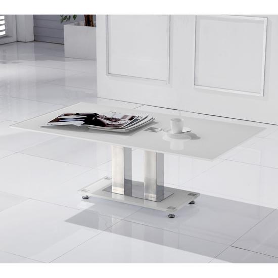 Romano White Glass Coffee Table - Romano White Glass Coffee Table 15753 Furniture In Fashion