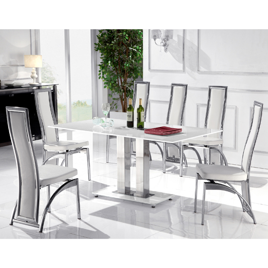 Read more about Romano white glass dining table and 6 chairs