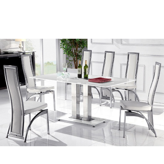 Read more about Romano small white glass dining table with 4 white chairs