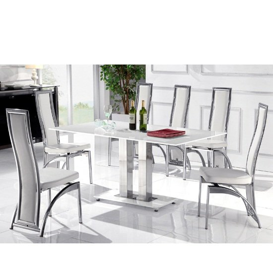 Romano Small White Glass Dining Table With 4 White Chairs