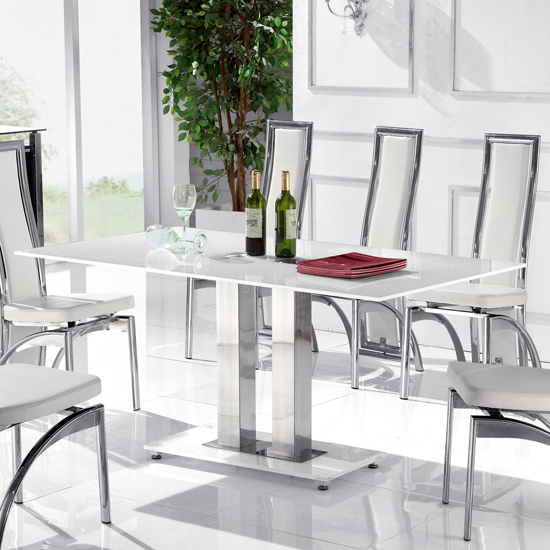 Romano II Small White Glass Dining Table Only