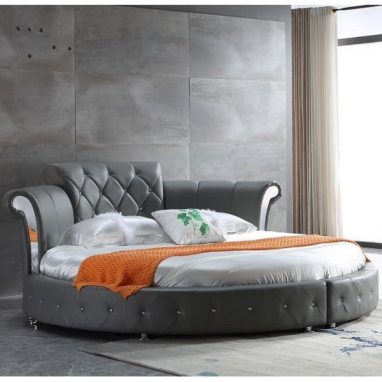Romantica Round Chesterfield Style Bed In Grey Bonded Leather_2