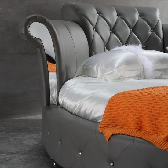 Romantica Round Chesterfield Style Bed In Grey Bonded Leather_3