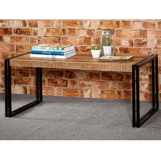 Photo of Clio coffee table rectangular in reclaimed wood and metal fra