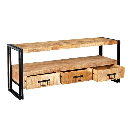 Clio TV Stand Rectangular In Reclaimed Wood And Metal Frame_2