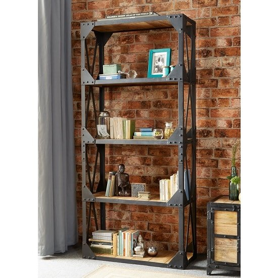 View Romarin large bookcase in reclaimed wood and metal frame