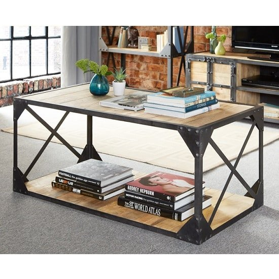 Romarin Coffee Table In Reclaimed Wood And Metal Frame