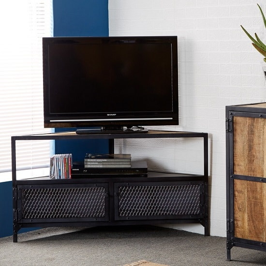 Romarin Corner TV Stand In Reclaimed Wood And Metal Frame_1