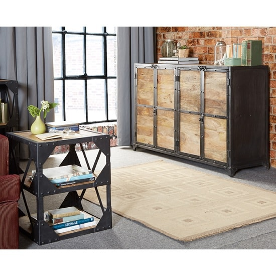 Romarin Wooden Sideboard In Reclaimed Wood And Metal Frame_5