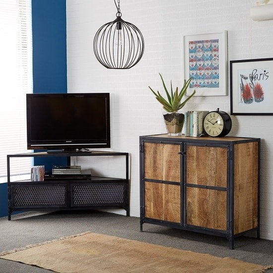 Romarin Corner TV Stand In Reclaimed Wood And Metal Frame_4