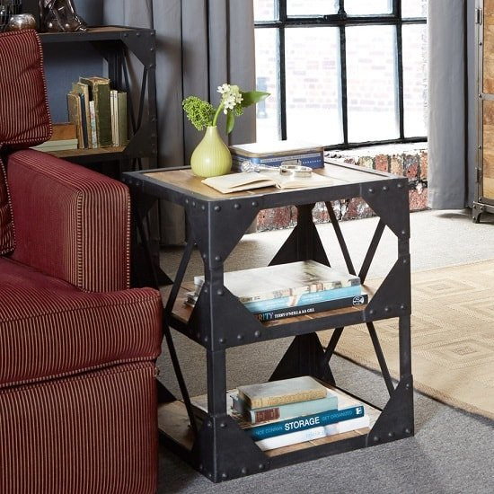 Romarin Side Table In Reclaimed Wood And Metal Frame
