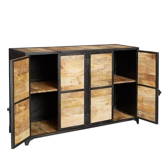 Romarin Wooden Sideboard In Reclaimed Wood And Metal Frame_2