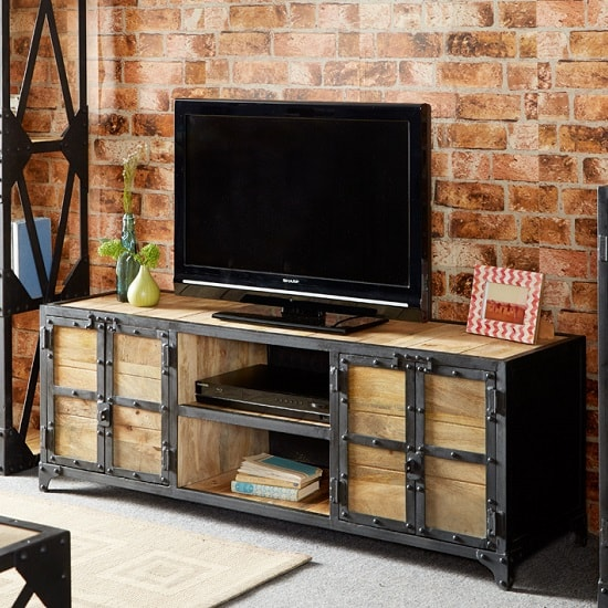 Romarin Wooden TV Stand In Reclaimed Wood And Metal Frame