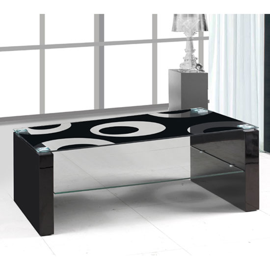 Rome Glass Coffee Table With Black High Gloss Legs Tables Furnitureinfashion Furniture Online
