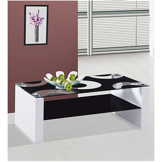Rome Glass Coffee Table With White High Gloss Legs