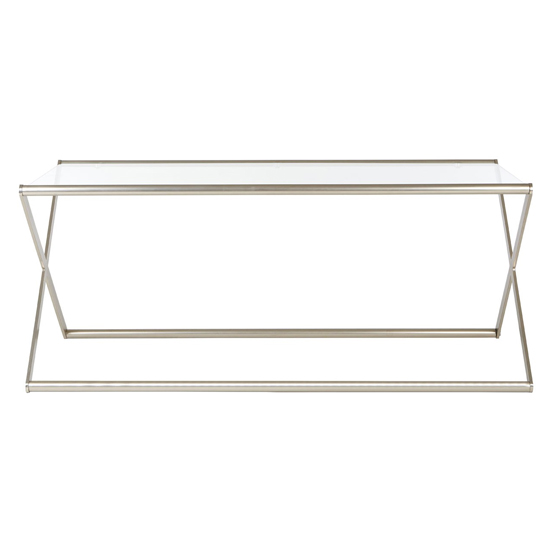 Romelo Clear Glass Coffee Table With Satin Nickel Frame_2