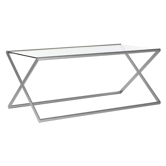 Romelo Clear Glass Coffee Table With Satin Nickel Frame