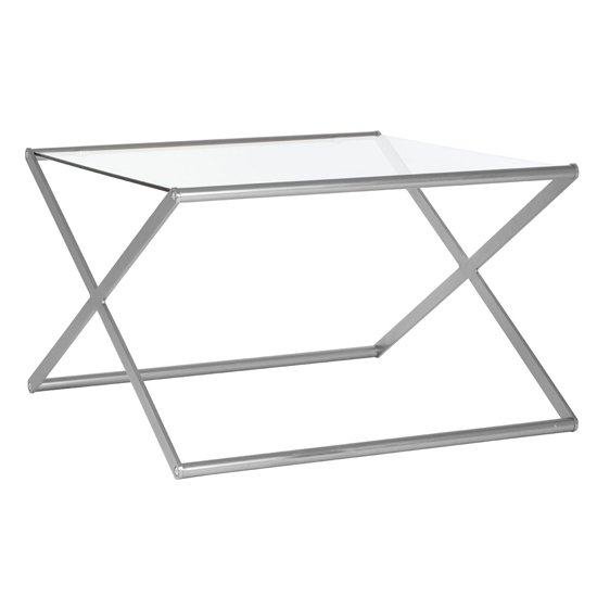 Romelo Square Glass Coffee Table With Satin Nickel Frame