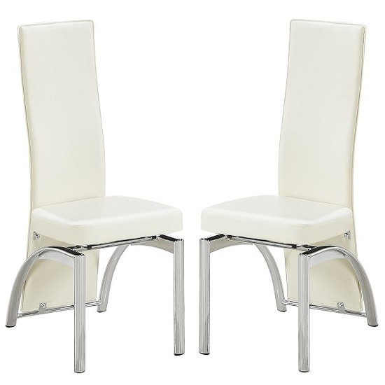 Romeo Dining Chair In Cream Faux Leather In A Pair