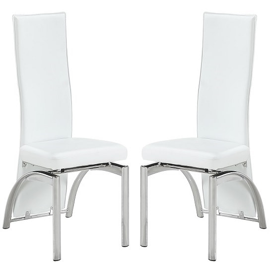 Romeo Dining Chair In White Faux Leather In A Pair