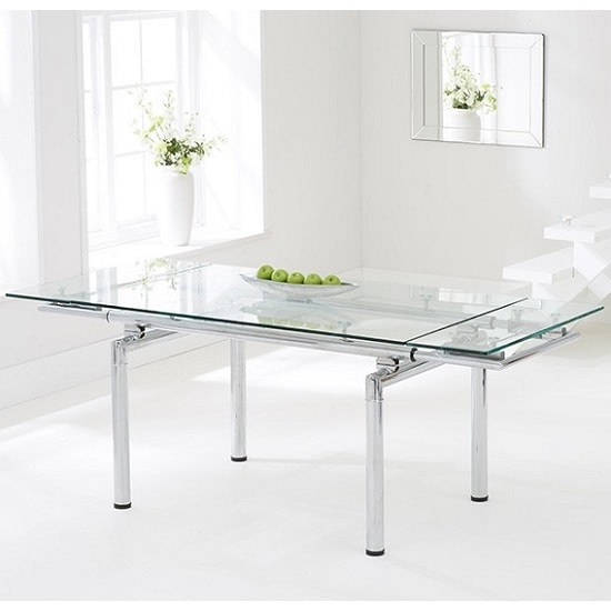 Romero Extendable Glass Dining Table In Clear With Chrome Legs