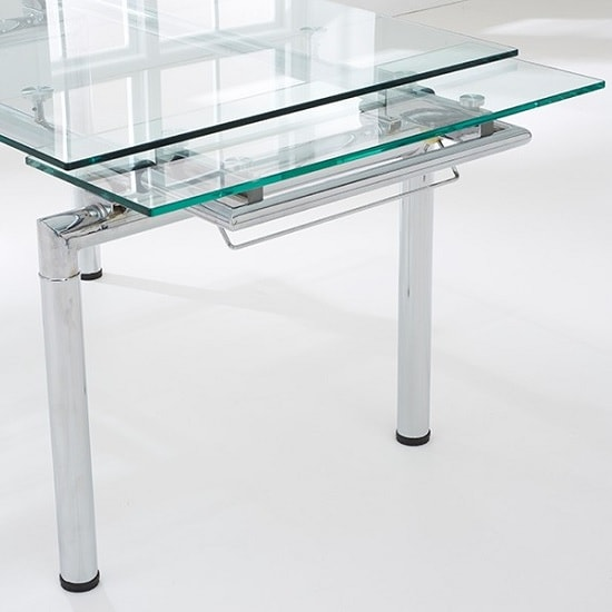 Romero Extendable Glass Dining Table In Clear With Chrome