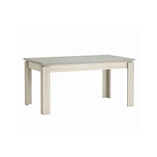 Romford Extendable Dining Table In Shannon Oak And Concrete
