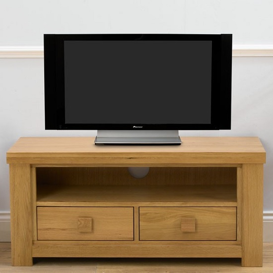 Romford Wooden TV Stand In Oak With 2 Drawers