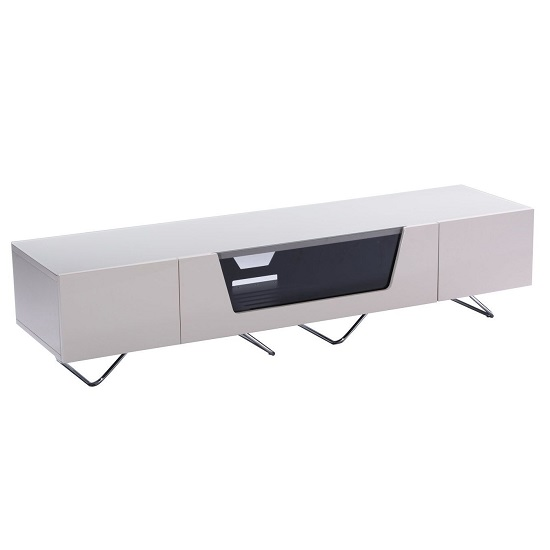 Romi Large LCD TV Stand In Ivory With Chrome Base