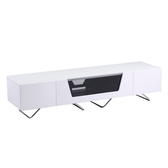 Romi Large LCD TV Stand In White With Chrome Base_1