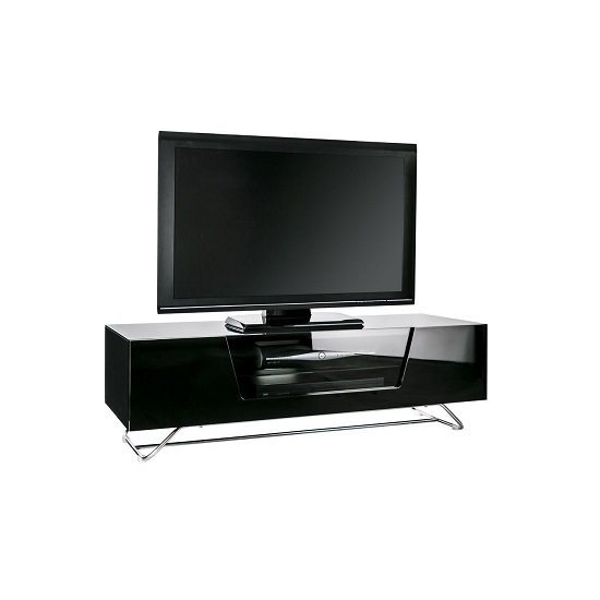 Romi Medium LCD TV Stand In Black With Chrome Base