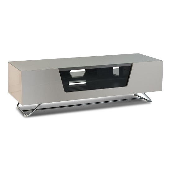 Romi Medium LCD TV Stand In Ivory With Chrome Base