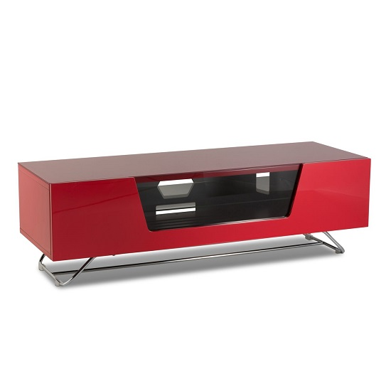 Romi Medium LCD TV Stand In Red With Chrome Base